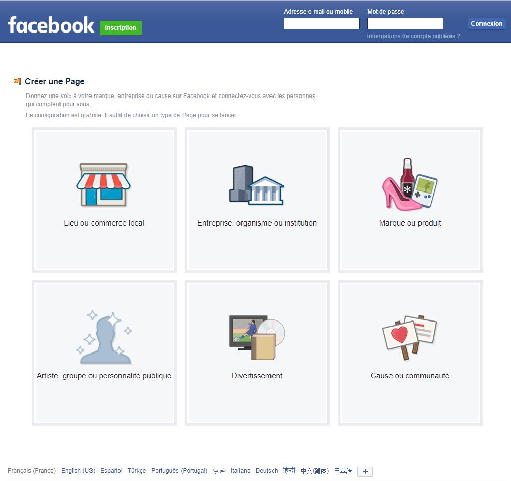 Tuto créée une page professionnelle facebook